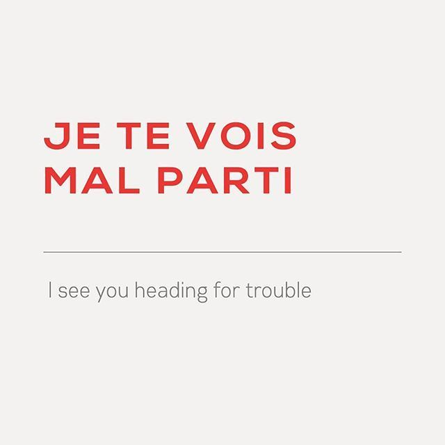 #French expression of the day: je te vois mal parti - I see you heading for trouble Tag someone who's always heading straight for trouble. :D Listen to the pronunciation via downloadable audio in the weekly newsletter (link in the page bio)