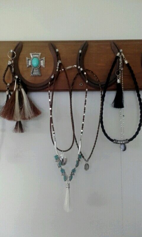 Refurbed old turquoise costume jewelry piece with horsehair & sterling