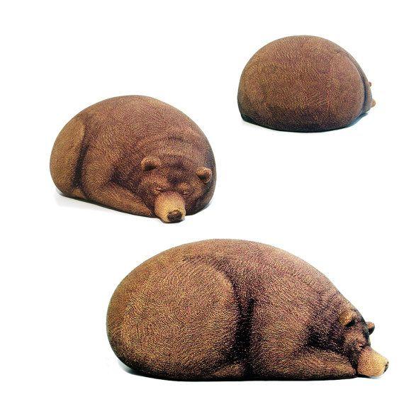 Big Sleeping Grizzly Bear Bean Bag by chicsindesigndotcom on Etsy, $189.00