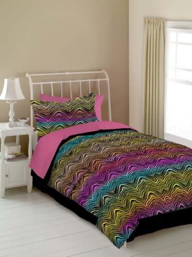 Rainbow Zebra Multi Color Zebra Print Bedding for Teenage Girls