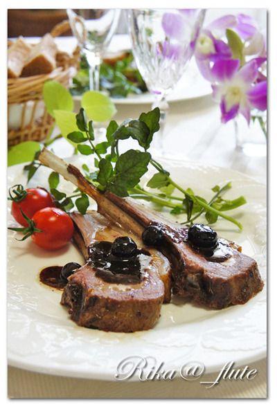 ラムチョップ ブルーベリーバルサミコソース 「 ラム肉(仔羊)背脂つき」頂い