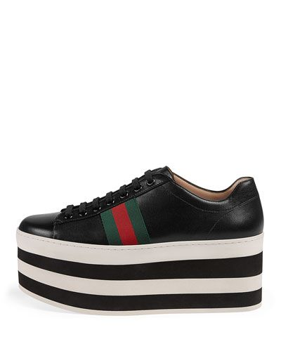 X3SRC Gucci Peggy Leather Platform Low-Top Sneaker