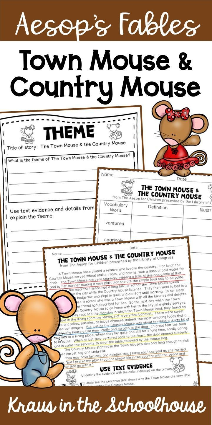 Teaching Theme Town Mouse Country Mouse Easel Activity Teaching Themes Reading Vocabulary Teaching [ 1440 x 720 Pixel ]