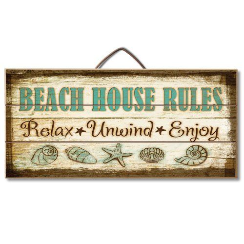 Beach House Rules Reclaimed Wood Pallet Sign - Beachfront Decor