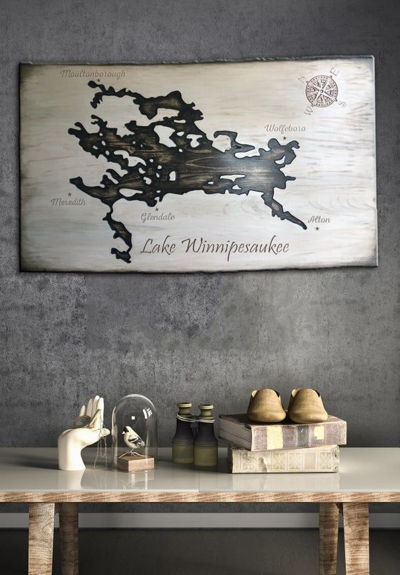 Lake Winnipesaukee Map Custom Wooden Map Wood Carved Wall Art Etsy Carved Wall Art Engraved Wood Board Wooden Map