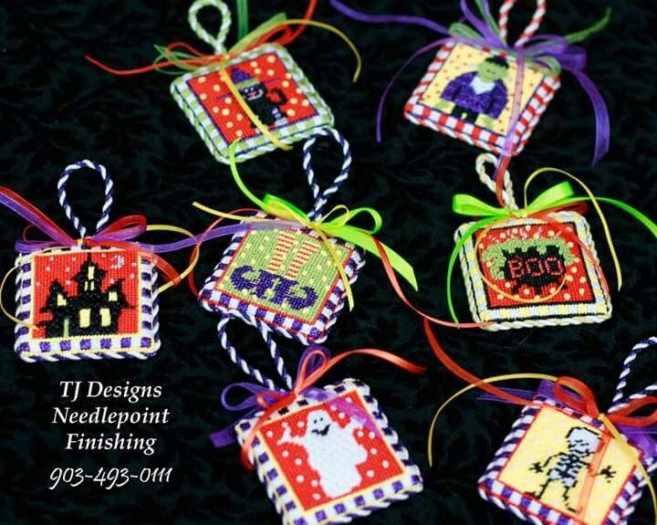 needlepoint boo halloween ornaments halloween ornamentschristmas ornaments needlepoint - Halloween Christmas Ornaments