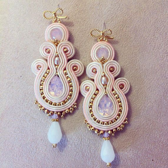 Orecchini soutache / pink soutache earrings di LaviBijoux su Etsy
