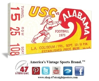 Alabama football art. Alabama Crimson Tide art. University of Alabama football tickets, Alabama Crimson Tide football tickets. 1971 Alabama vs. USC in Los Angeles. Alabama upset #5 USC 17-10 and Bear Bryant's '71 team rolled through the regular season undefeated. #alabama #rolltide #collegefootball #tickets #47straight