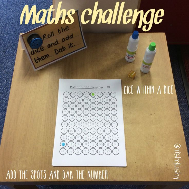 Maths challenge inspired by a previous activity we used from Inspired Mom. This one uses a dice within a dice. Add the spots and dab the number on the sheet.