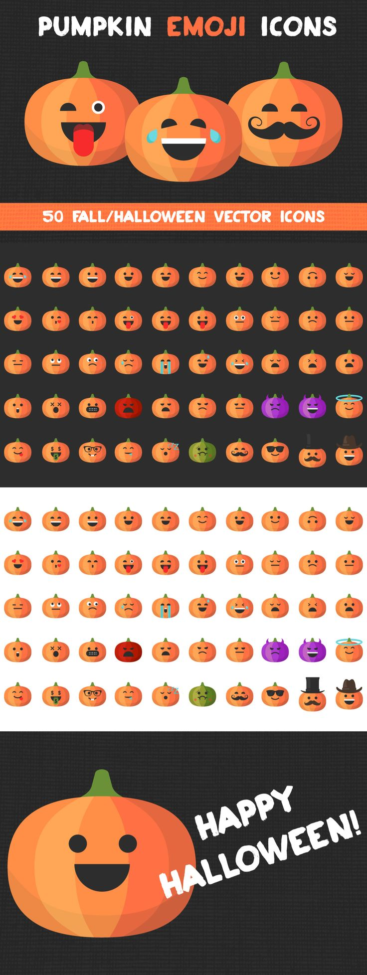 PUMPKIN EMOJI ICONS – Set of 50 fall/halloween vector icons. Download the unique emoji icons designed by (@Rachel Lovett). They are perfect for celebrating the fall season and of course Halloween (which lets be honest, is the best holiday). Click through to get this downloadable on Creative Market.