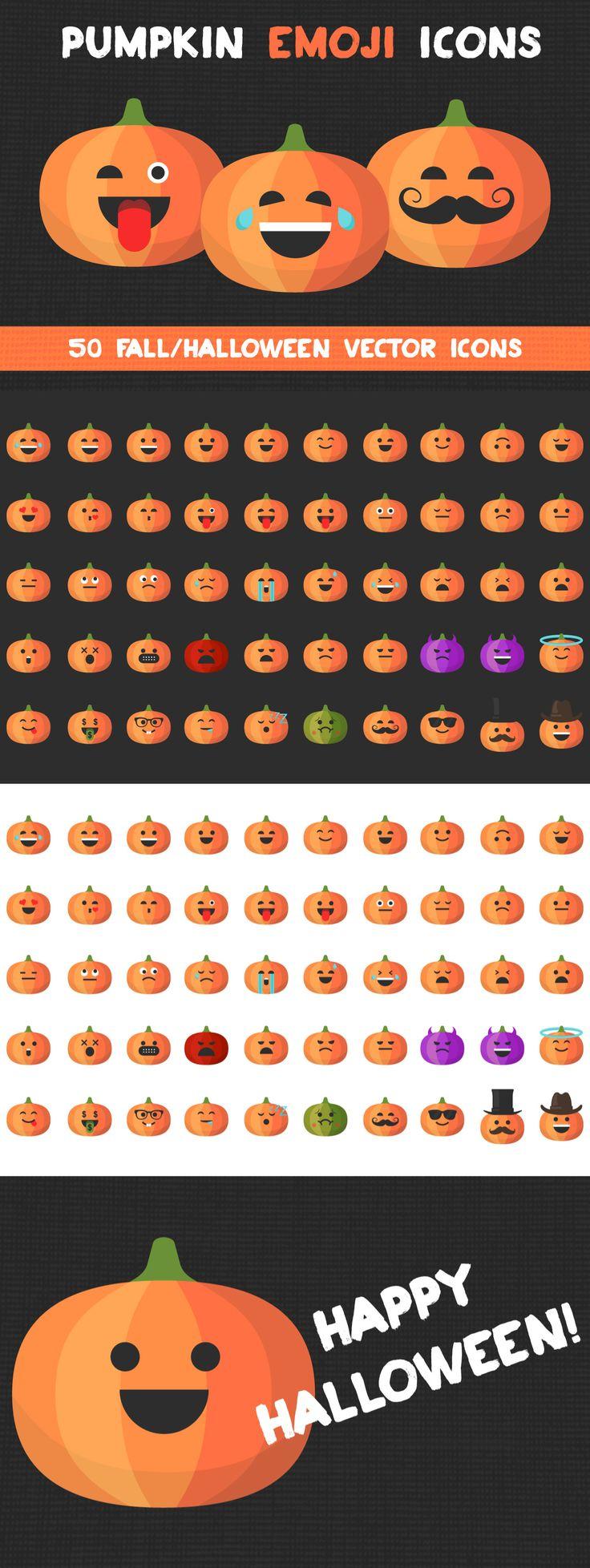 PUMPKIN EMOJI ICONS Set of 50 fall/halloween vector