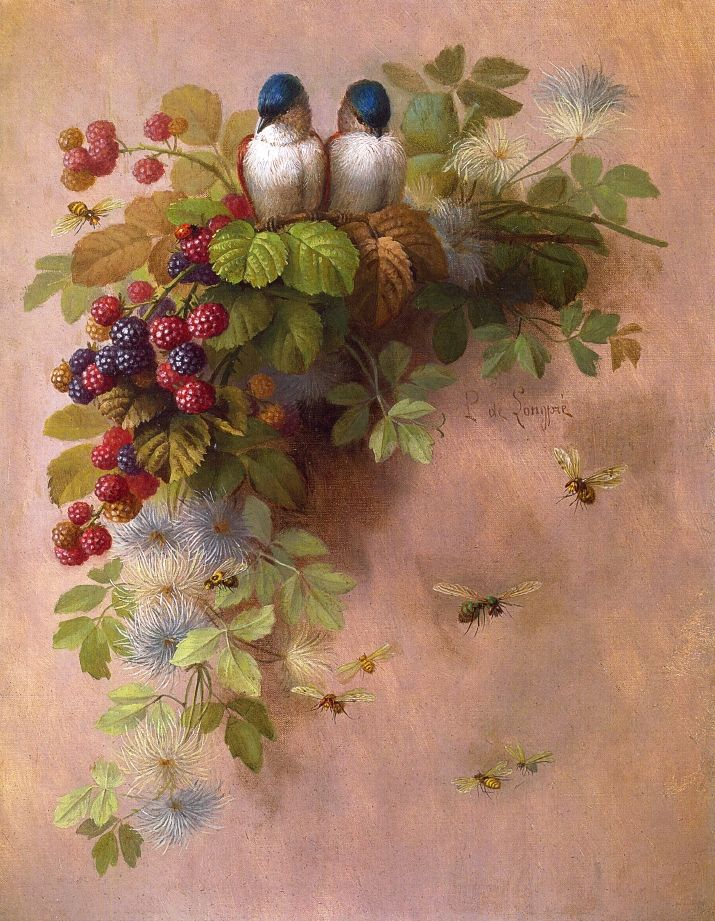 Birds Bees and Berries Painting by Paul De Longpre | Oil Painting