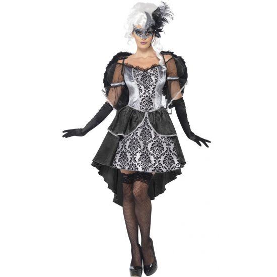 Duistere engel kostuum met vleugels. Barok stijl engelen kostuum bestaande uit een jurk en vleugels.