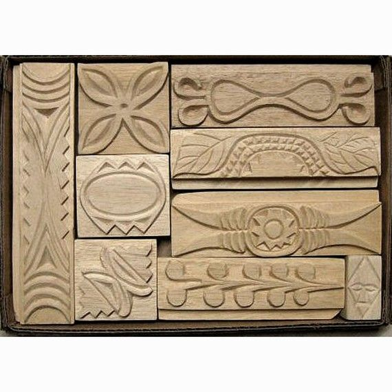 Oshiwa carved wood printing stamp set african designs by