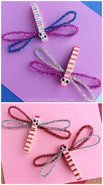 Clothespin and pipe cleaner dragonfly crafts for kids (spring art project) | CraftyMorning.com
