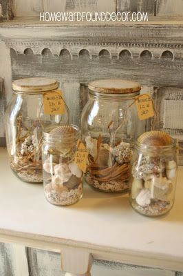 5 Ideas for Seashell Displays, including 'Beach in a Jar' - and number 5 will blow your mind! ;)