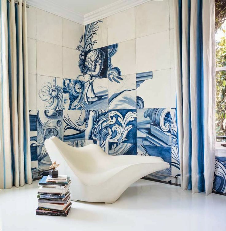 Portuguese tiles-A total of 243 oversized tiles were hand-painted by master decorative painters Linda Horning and Katherine Jacobus, working together for the first time in this challenging and historically-accurate taskthe style saloniste: Bravo, Antonio Martins: Designer I Love