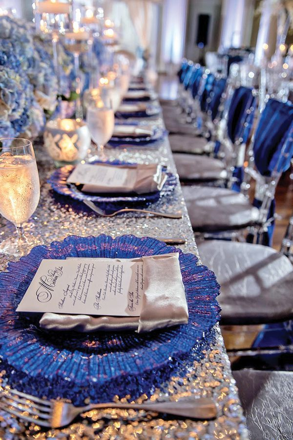 blue and silver place setting reception