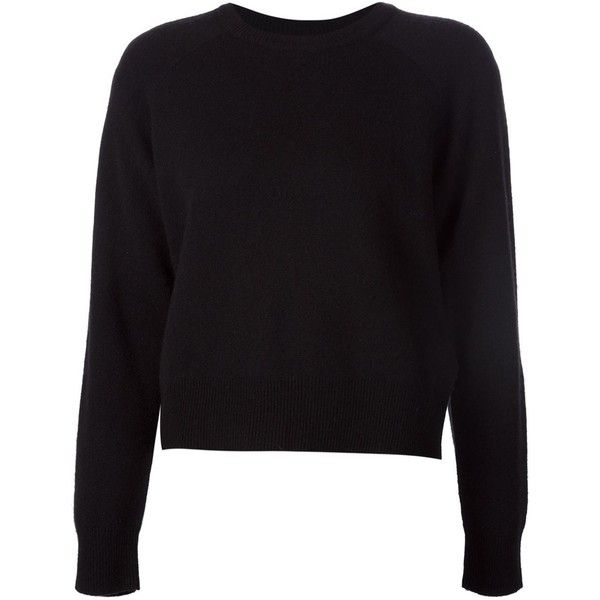 T By Alexander Wang Crew Neck Sweater (£265) ❤ liked on Polyvore featuring tops, sweaters, black, black top, black crew neck sweater, crewneck sweater, t by alexander wang sweater and long sleeve sweaters