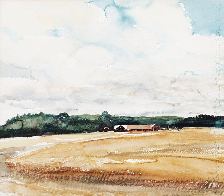 LARS LERIN, UTAN TITEL. Signerad Lars Lerin. Utförd 1990. Akvarell 56 x 64 cm.