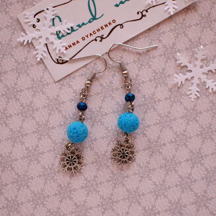 Snowflakes earrings Blue beads earrings Handmade beads earrings Winter earrings Xmas jewelry Winter holiday gift Winter earrings by AnyankasHandiworks on Etsy