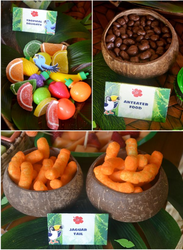 Rio Jungle Inspired birthday party ideas, great for a movie watching party too! Lots of easy DIY decorations, food table ideas and printables!
