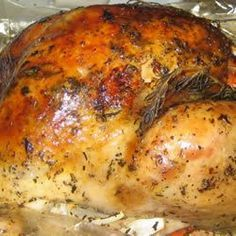 This is by far. the best roasted turkey recipe. I have been making it for the past 7 years. It uses olive oil to keep the bird moist and seasoned with Italian seasonings and fresh rosemary and basil. It makes my mouth water!
