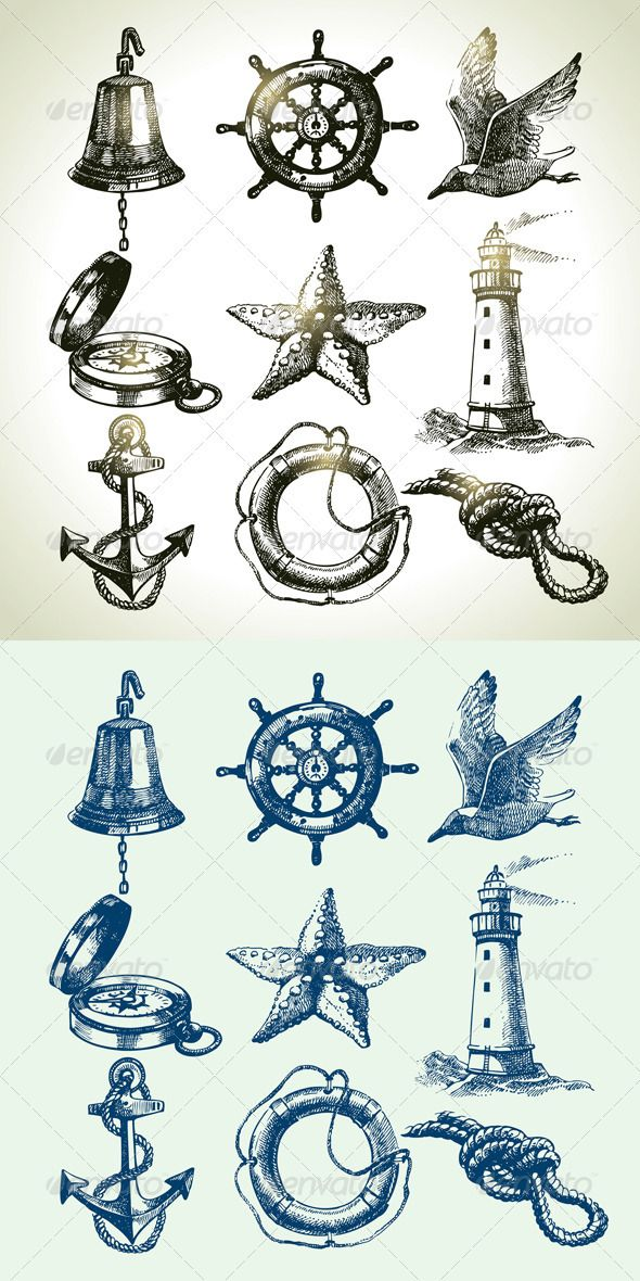 Hand Drawn Sea Set #GraphicRiver Set of hand drawn vintage sea icons: lighthouse, gull, lifeline, bell, starfish, anchor, compass, wheel, rope. This illustrations can be used in design of printed materials (brochures, invitations, postcards), in web design, etc. No bitmaps, only vector used. Zip file contains fully editable EPS 8 vector file, AI CS vector file and high resolution pixels RGB Jpeg image. Created: 22December12 GraphicsFilesIncluded: JPGImage #VectorEPS #AIIllustrator Layered…
