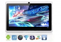 WolVol NEW (Android 4.0 - 1GB RAM) Ultra-Thin WHITE 7inch Tablet PC Touch Screen, WiFi and Camera with Google Play, Flash Player (Includes: Velvet Pouch Case, Touch Pen, Charger, Screen Protector)  Product sku: 129 Availability: 4  Price: $99.94