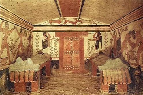 Pintura de la Tumba de los Augures, en Tarquinia. (h.520 a.C). Arte etrusco.