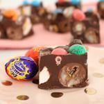 Oh no! This happened in my house today! It's the easiest Easter Rocky Road... And yep there's creme eggs, m&ms, marshmallow eggs and raspberry lollies. This is not going to well well! #easter #chocolate #cremeegg #cadbury #m&ms #marshmallow @baking #rockyroad #foodporn #foodblogger
