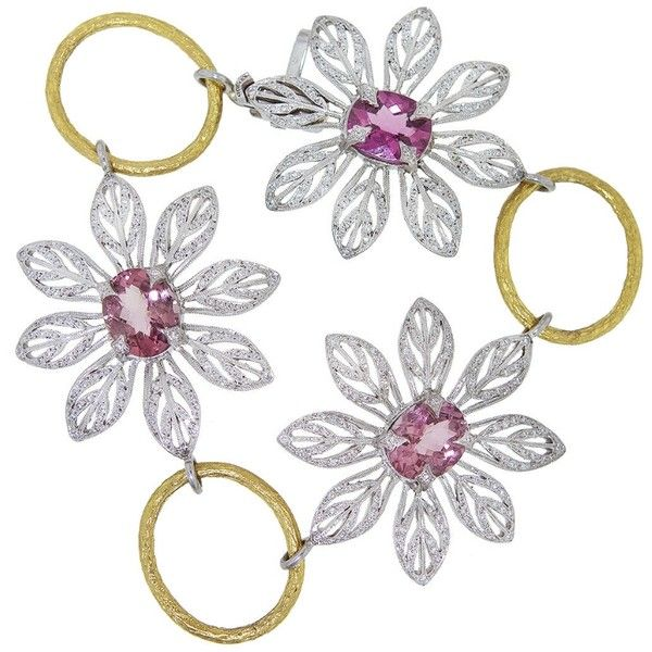 Cathy Waterman Pink Tourmaline Peacock Flower Bracelet featuring polyvore, women's fashion, jewelry, bracelets, flower jewellery, blossom jewelry, floral jewellery, peacock bangles and handcrafted jewellery