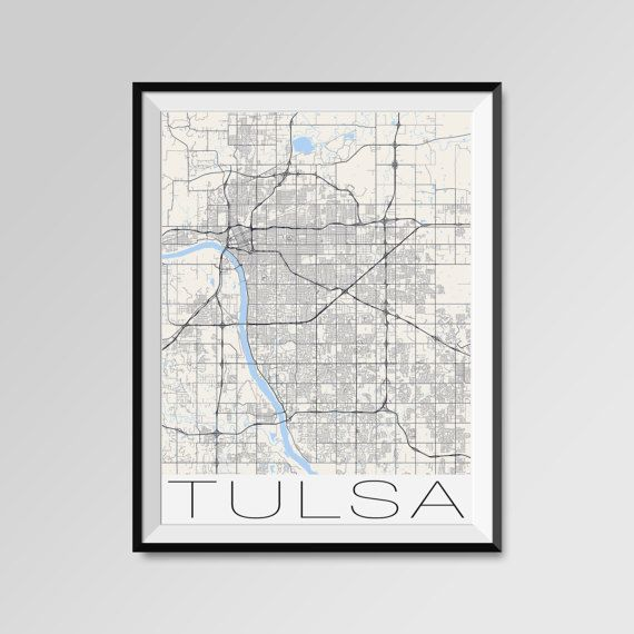 Tulsa Map Print - Minimalist City Map Art of Tulsa Poster - Wall Art Gift - COLORS - white, blue, red, yellow, violet Tulsa map, Tulsa print, Tulsa poster, Tulsa map art, Tulsa gift  More styles - Tulsa - maps on the link below https://www.etsy.com/shop/PFposters?search_query=Tulsa