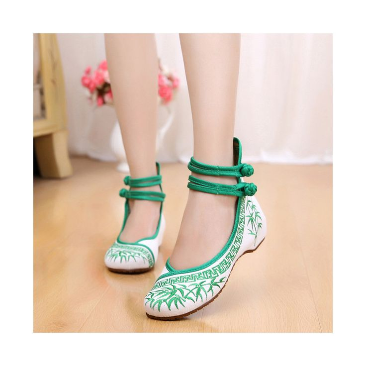 Vintage Bamboo National Style Increased within Slipsole Embroidered Shoes Old Beijing Cloth Shoes green