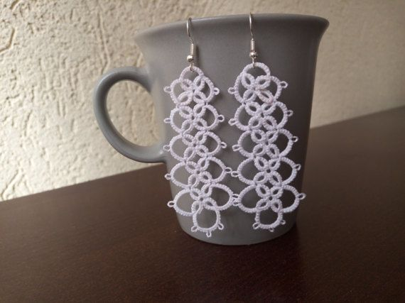 White Tatted Lace Earrings White Chandelier by EstaTatting on Etsy