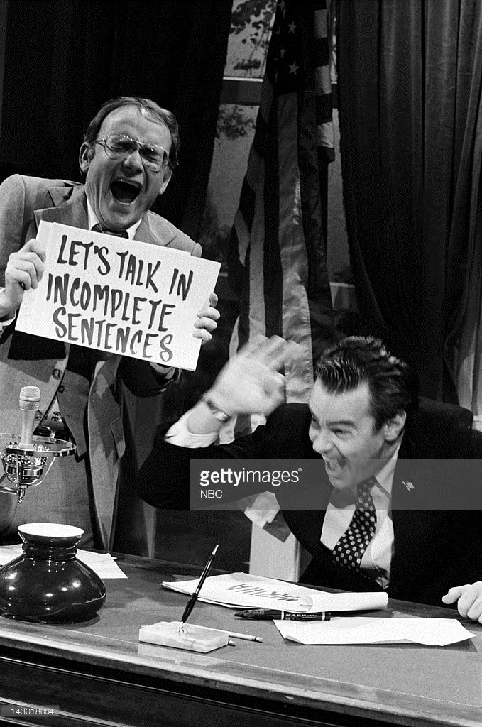 Buck Henry as John Dean, Dan Aykroyd as Richard Nixon during the 'Blind Ambition' skit on May 26, 1979 - Photo by: