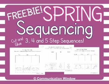 "These FREE Spring Sequencing Cut and Glue Worksheets are for 3, 4, and 5 step sequences related to spring! I made these to celebrate reaching 500 followers! Hopefully, if you enjoy these and you are not yet a follower you will click the green ""follow me"" star on the right side so you don't miss future freebies!"