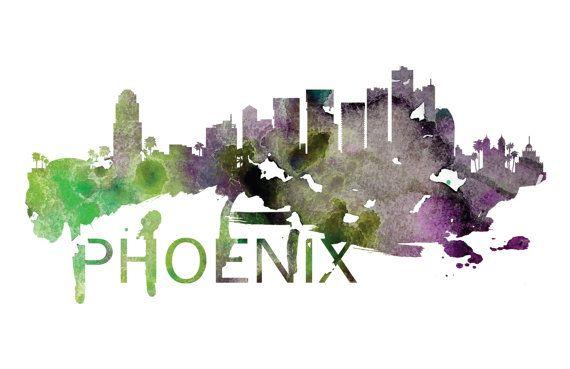 Phoenix Arizona Skyline Watercolor Art Print by DreamMachinePrints