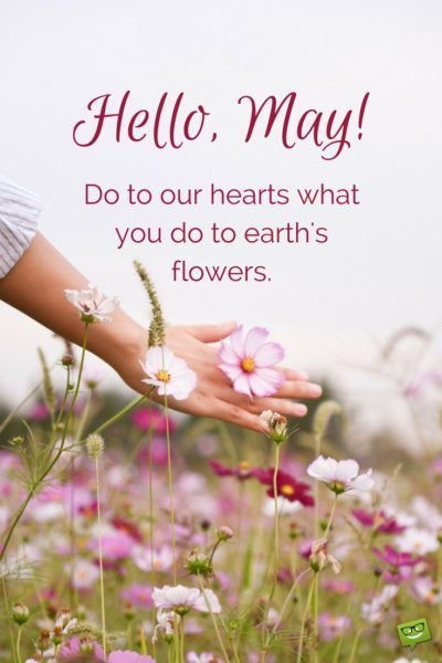 Hello, May! Do to our hearts what you do to earth's flowers.