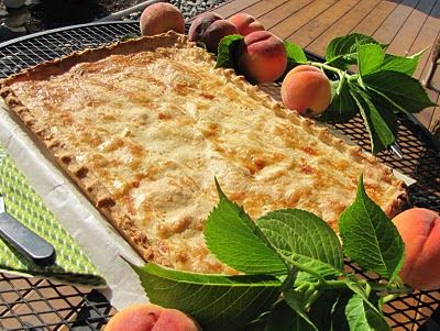 Peach Slab Pie...a pie baked in a bar pan. Serves 20 or leftovers freeze well.