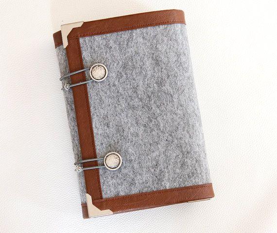 Grau braun Filz Ringbuch Tagesordnung / Planer Deckel / Veranstalter / Terminplaner / Notebook / Zeitschrift nachfüllbar A5 mit Tasche Teiler