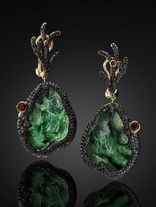 POISON IVY EARRINGS by VOTIVE JEWELRY • Emeralds, Black Diamonds, Red Sapphires, 18k Yellow Gold