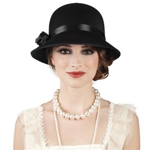 Charleston Hut Damen 20er 30er Jahre Kopfbedeckung schwarz Kostüm Karneval in Hüte & Kopfbedeckungen | eBay