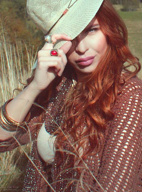Kat Von Rose #boho #vintage #bohochic #fashion #style #hippy #gypsy #inspiration #wildwest #ginger #hair #bohooutfit #outfit #bohemian #hat #bohostyle #style #katvonrose #kat #von #rose