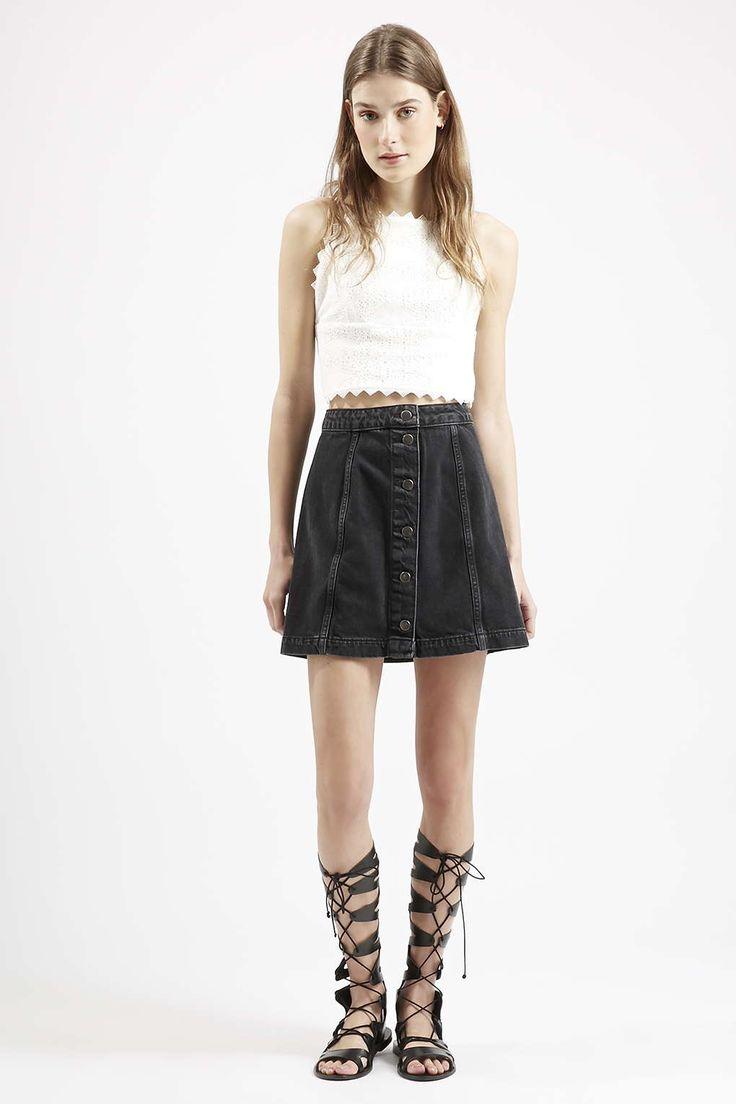 Photo 2 of MOTO Denim Button Front A-Line Skirt