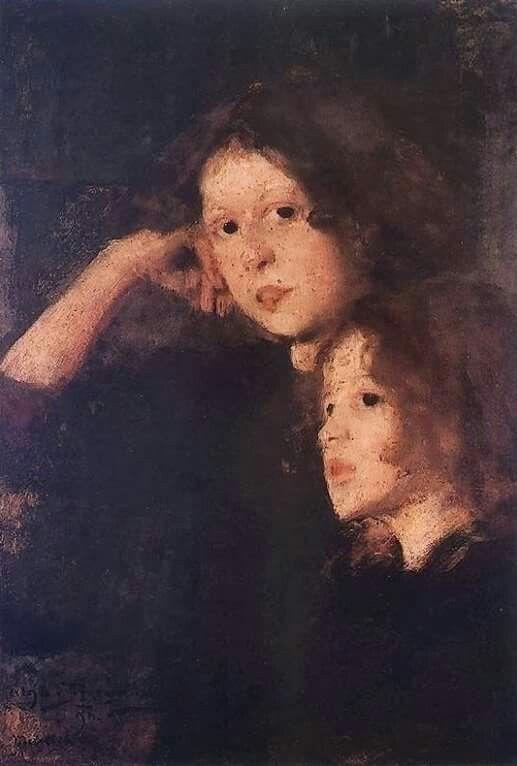 Olga Boznańska (Polish painter) 1865 - 1940 Dwie Dziewczynki (Two Girls), 1896 oil on cardboard 70 x 49.5 cm.  Silesian Museum, Bytom, Poland