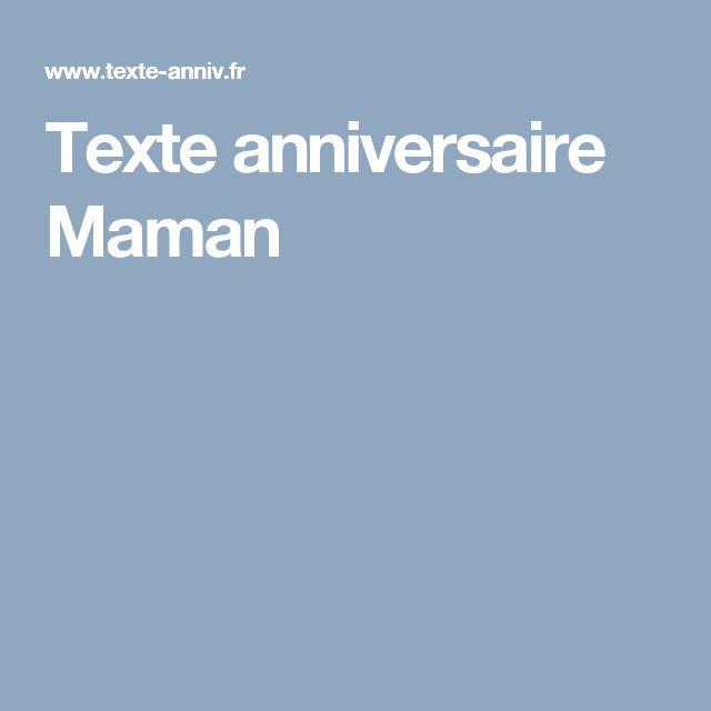 Texte anniversaire Maman