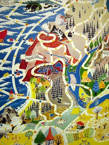 Moomin Japanese Map.  The Japanese love the Finnish Moomin!