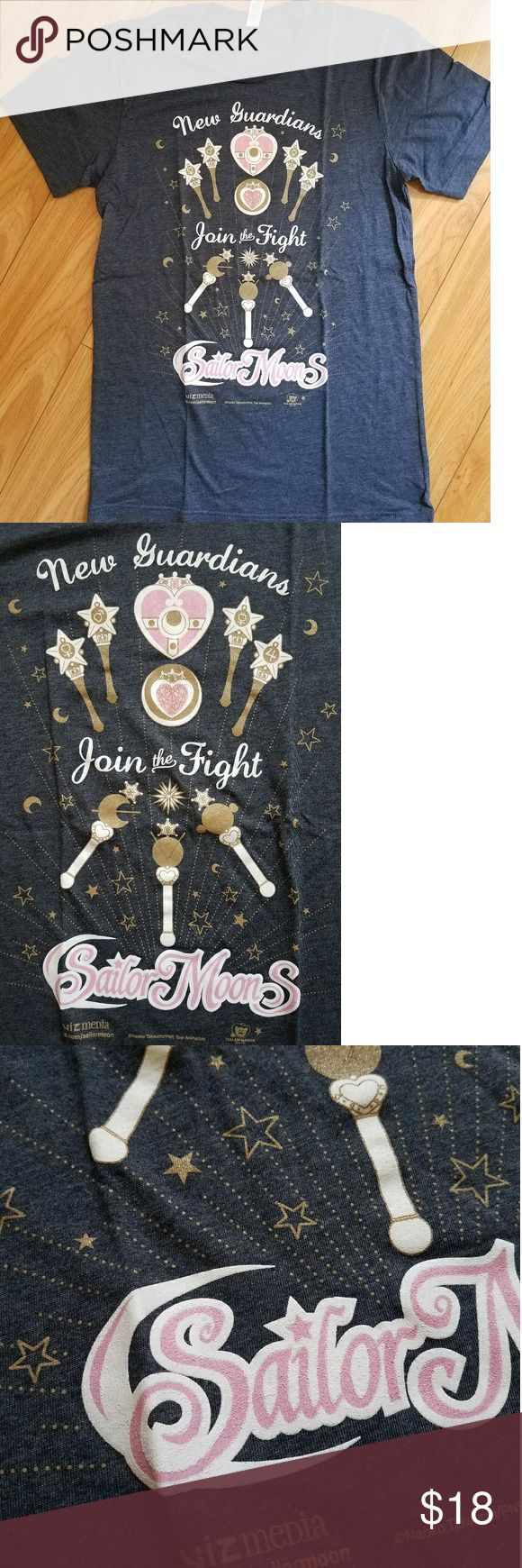 VIZ MEDIA Excusive Sailor Moon Tshirt Denim/navy colored tshirt with metallic details. Size small. Soft quality. Wands from inner and outer scouts. Worn once. Very nostalgic 💖 Viz Media Tops Tees - Short Sleeve