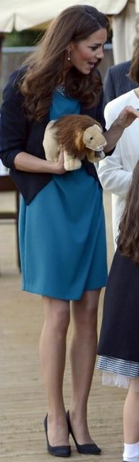 Kate Middleton:  Shoes - L.K Bennett Earrings - Links of London Ring - Garrards Jacket - Whistles Dress - Zara
